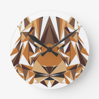 Geometric Bear Round Clock