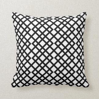 Geometric black and white lattice monochrome throw pillow