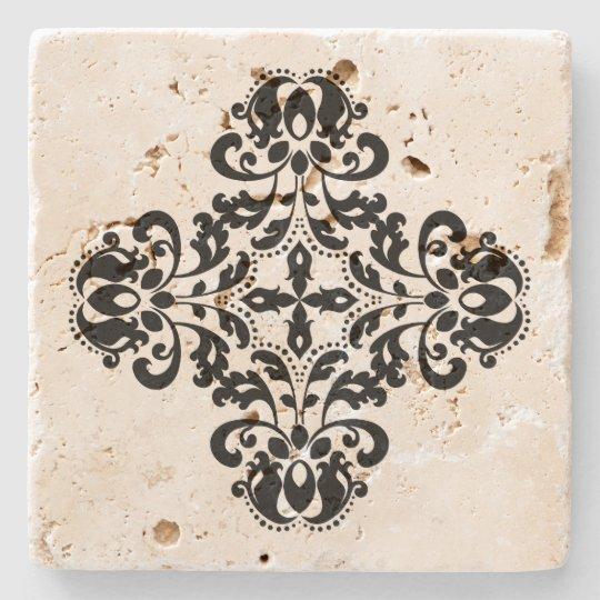 Geometric black damask design stone beverage coaster