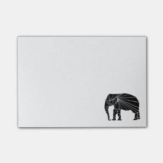 Geometric black elephant post-it notes
