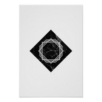 Geometric Black Marble Poster