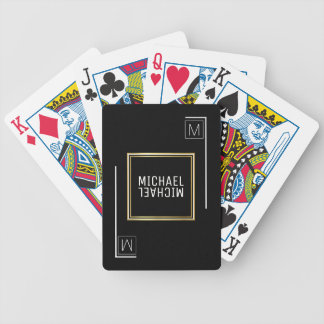 geometric black playing cards with name & initial