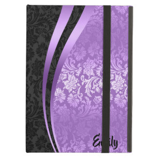 Geometric Black & Purple Floral Damasks Pattern Cover For iPad Air