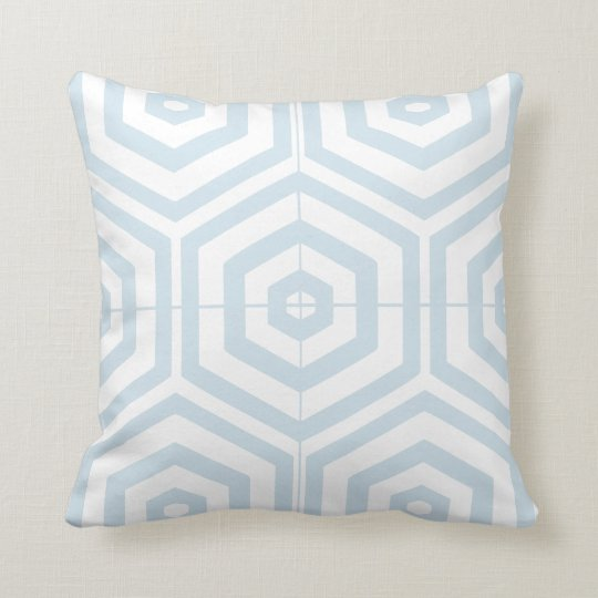 Geometric Block Symbol Patterns Blue and White Throw Pillow