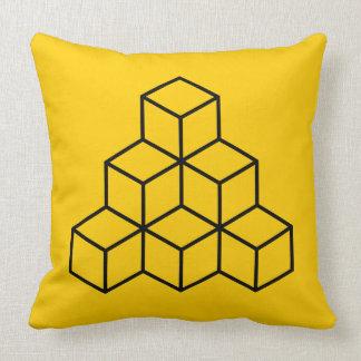 Geometric Blocks - Black on Amber Throw Pillow