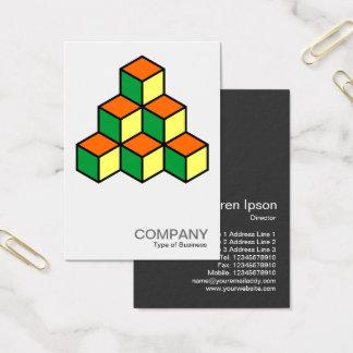 Geometric Blocks - Green Orange and Yellow Business Card
