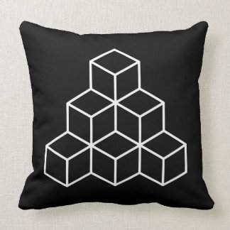 Geometric Blocks - White on Black Throw Pillow