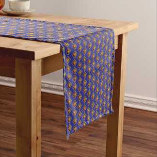 Geometric Blue and Gold Pattern Table Runner