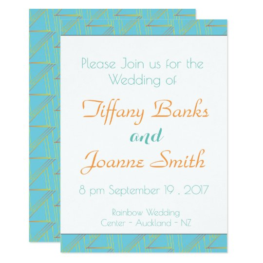 Geometric Blue and Gold Pattern Wedding Invitation
