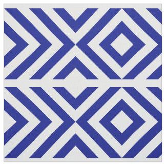 Geometric Blue and White Chevrons and Diamonds Fabric