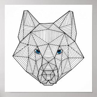 Geometric Blue Eyed Wolf Print