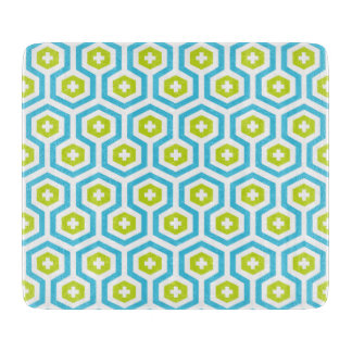 Geometric Blue Green Hexagon & Cross Pattern Cutting Board