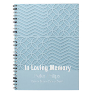 Geometric Blue Memorial Service Funeral Guest Book