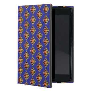 Geometric Blue Pattern and Golden iPad Case