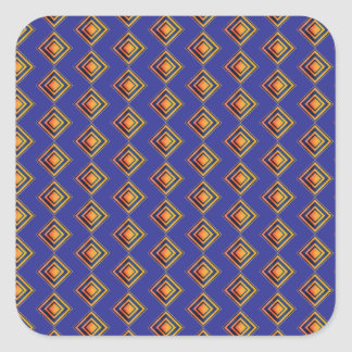 Geometric Blue Pattern and Golden Party Supply Square Sticker