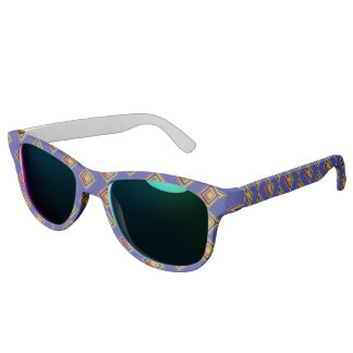 Geometric Blue Pattern and Golden Sunglass Sunglasses