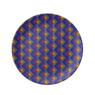 Geometric Blue Pattern Decorative Porcelain Plate