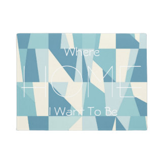 Geometric Blue Pattern Doormat