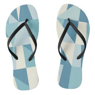Geometric Blue Pattern Flip Flops