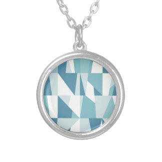 Geometric Blue Pattern Silver Plated Necklace