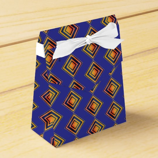 Geometric Blue Pattern Wedding favour Box Favor Box