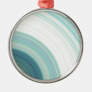 Geometric Blue Rings Metal Ornament