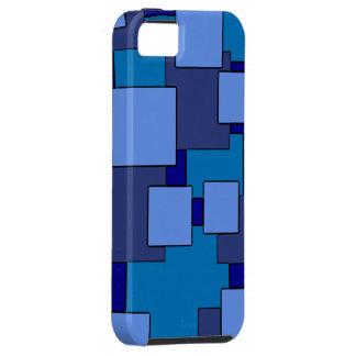 Geometric blue squares theme iphone 5 case