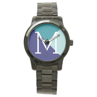 geometric blue to add initial wristwatches