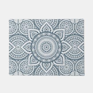 Geometric blue white floral mandala doormat