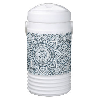 Geometric blue white floral mandala drinks cooler