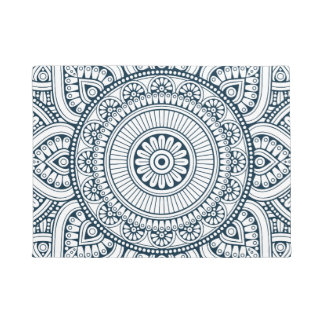 Geometric Blue white Floral Mandala pattern Doormat