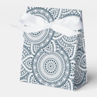 Geometric Blue white Floral Mandala pattern Favor Box