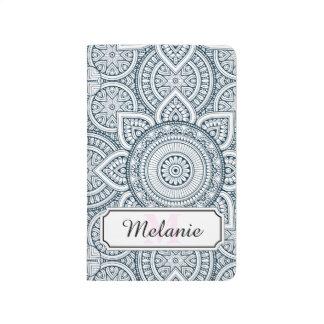 Geometric Blue white Floral Mandala pattern Journal