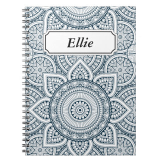 Geometric Blue white Floral Mandala pattern Notebook
