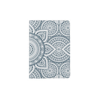 Geometric Blue white Floral Mandala pattern Passport Holder