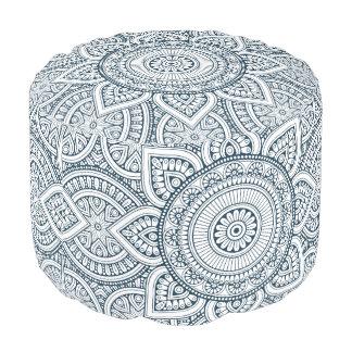 Geometric Blue white Floral Mandala pattern Pouf