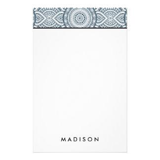 Geometric Blue white Floral Mandala pattern Stationery