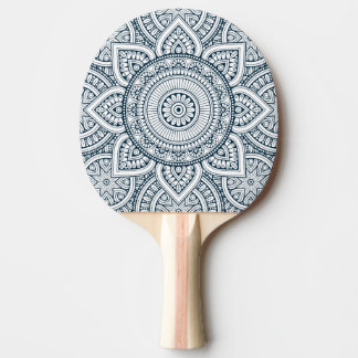 Geometric blue white floral mandala ping pong paddle