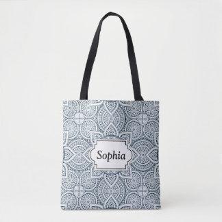 Geometric blue white floral mandala tote bag