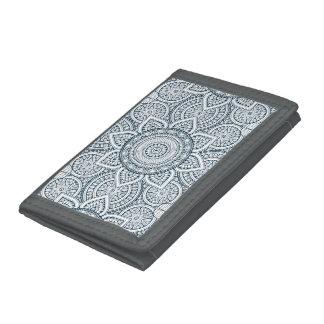 Geometric blue white floral mandala trifold wallets