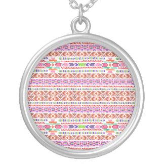 Geometric Boho Pattern Silver Plated Necklace