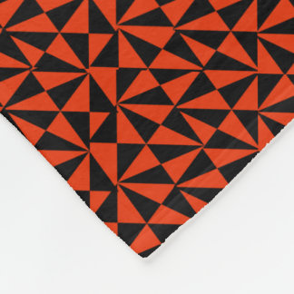 Geometric Bold Retro Funky Black Orange Modern Fleece Blanket