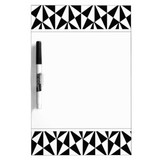 Geometric Bold Retro Funky Black White Dry Erase Board