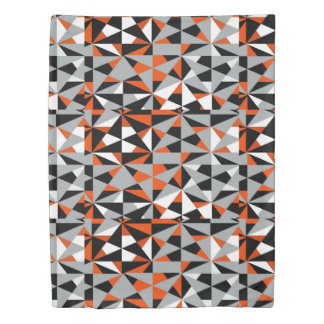 Geometric Bold Retro Funky Orange Black White Duvet Cover