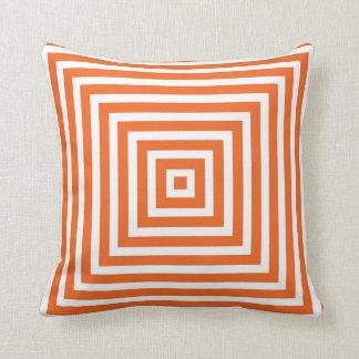 Geometric Box Pattern in Orange Throw Pillow