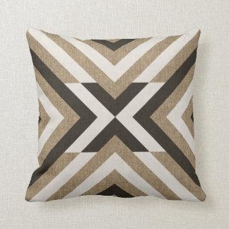 Geometric Brown Faux Burlap Throw Pillow