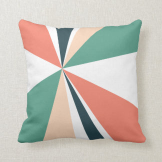Geometric Burst Triangle Art Coral Teal Navy Throw Pillow