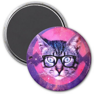 Geometric cat purple and pink pattern.Space cat 3 Inch Round Magnet