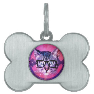 Geometric cat purple and pink pattern.Space cat Pet ID Tags