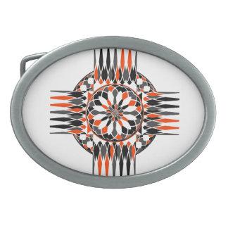 Geometric celtic cross oval belt buckle
